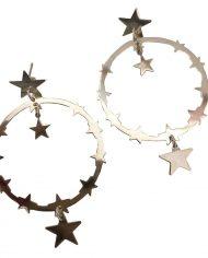 aro circulo con estrellas plateada